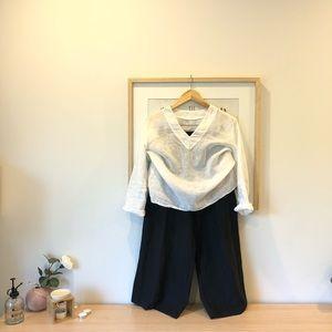 White linen v neck blouse